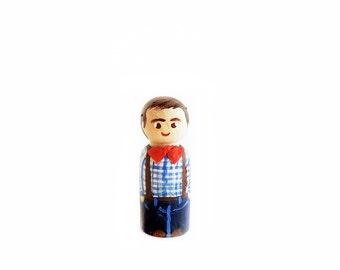 Custom figurine wood / peg boy doll or animal - 5.5 cm