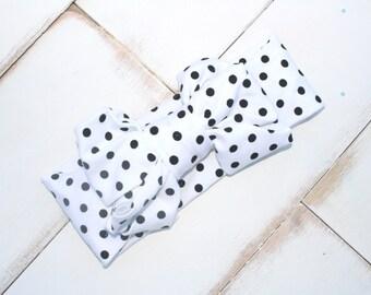 White and black little dot Sparkler Headband