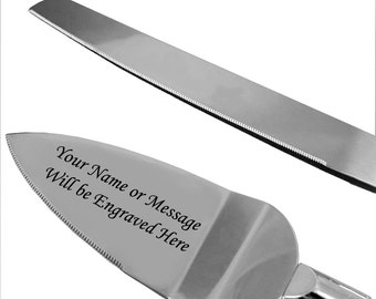Personalized Engraved Wedding Knife and Cake Server Set