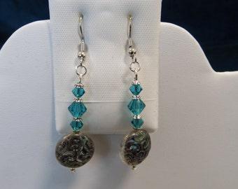 Blue Glass & Swarovski Crystal Earrings