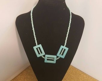 Light blue beaded necklace 161