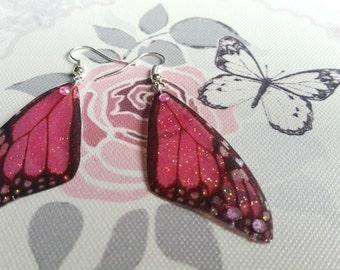 Pretty Pink Fairy Wing Earrings