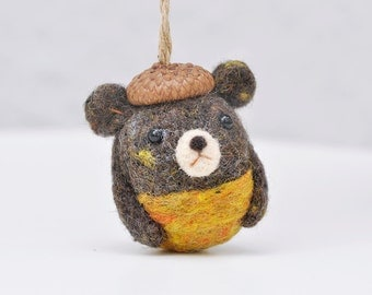 Bear ornament, needle felted bear, amigurumi bear, animal ornament, needle felted animal