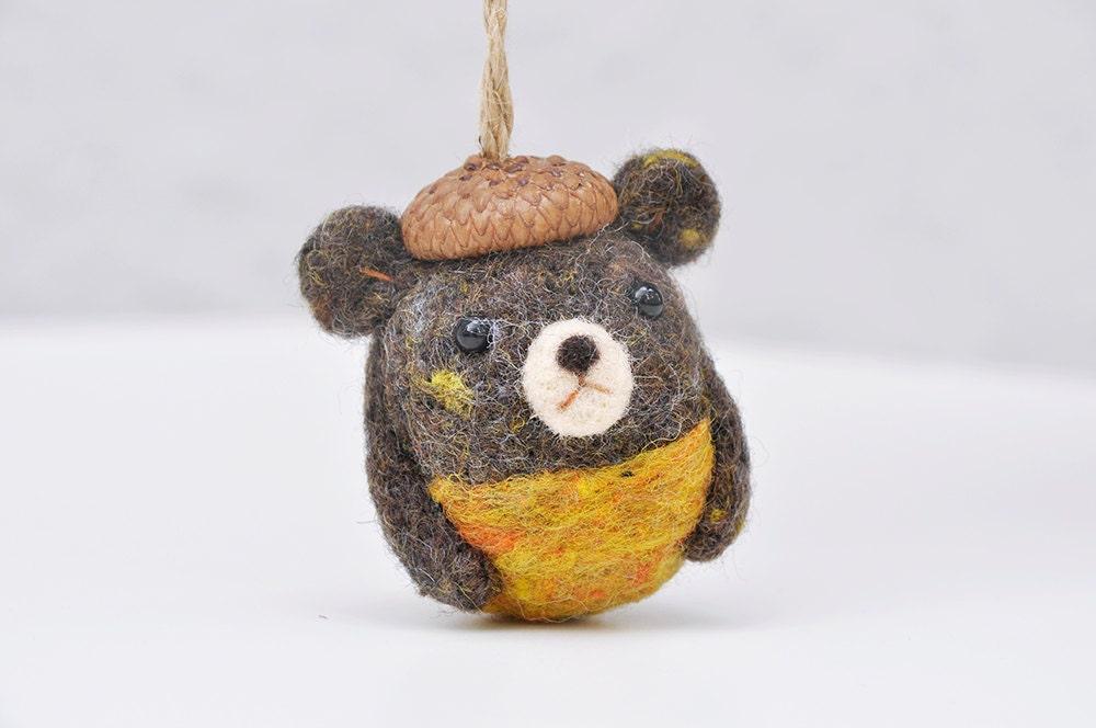 Bear ornament needle felted bear amigurumi bear animal