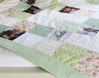 Handmade Photo Quilt. Picture and Patchwork Quilt. Memory Photo Quilt with YOUR PHOTOS. Free Shipping Photo Quilt. Soft Green & Pink Colors