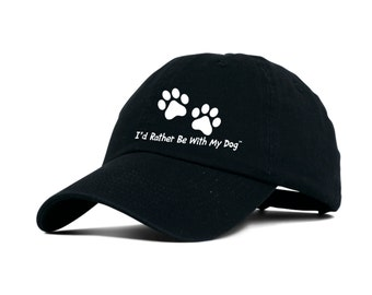 Black Baseball Hat - I'd Rather Be With My Dog
