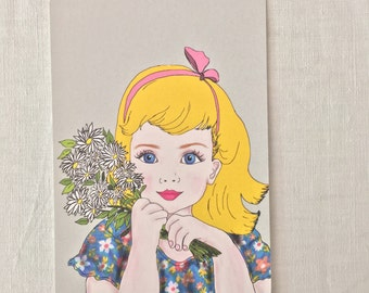little girl with flowers postcard