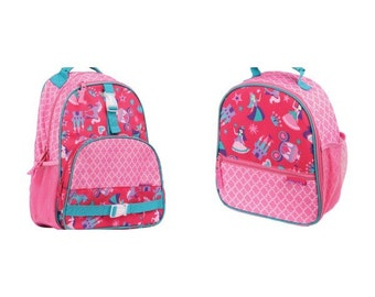 Stephen Joseph princess backpack, monogrammed backpack, personalized backpack, matching lunchbox