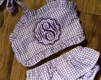 Baby Swimsuit, Toddler Swimsuit, Monogrammed swimsuit, purple swimsuit, baby bikini, toddler bikini