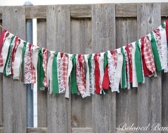 Christmas garland, Christmas fabric banner, red and green garland, Christmas banner,
