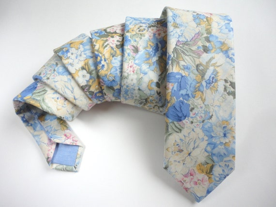 Blue floral neck tie, ties for men, wedding tie, groomsmen tie