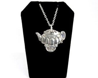 tea pot necklace,  tea time necklace, high tea necklace, light necklace