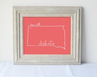 Printable South Dakota State Art Print 8x10 Digital Wall Art Gift