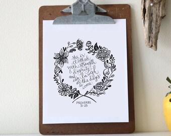 Proverbs 31:25 Printable Bible Verse Art Print 8x10 Digital Wall Art Gift