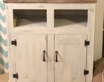 Primitive Distressed white with barnwood effect top Cabinet