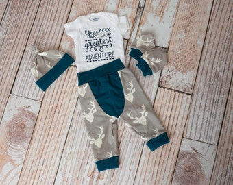 Newborn Coming Home Baby Deer Antlers/Horns Bodysuit, Hat, Scratch Mittens Set with Grey and Navy+ Greatest Adventure Bodysuit