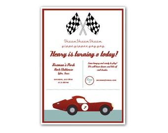 Vintage Racing Birthday Invitation