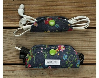 MTO Ear buds & charger holders - Denim/flowers