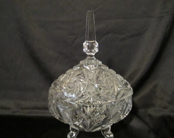 Gorgeous Footed Cut Crystal Candy Dish