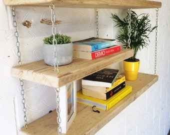 Reclaimed wood industrial   Floating shelving / shelf unit
