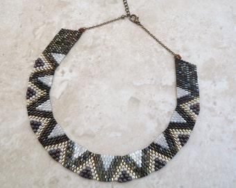 Dark Brown, Cream and Gold Wavy Peyote Necklace