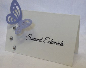 10 x Personalised Handmade Crystal Butterfly Guest Placecards