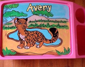 Cheetah activity tray, cheetah tray, girls activity tray, boys activity tray, safari lap tray, safari tray, safari TV tray, cheetah TV tray