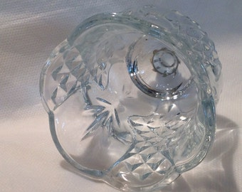 Vintage diamond cut votive, leaf frond votive, clear glass sconce candle holder, scallop top votive, panel votive