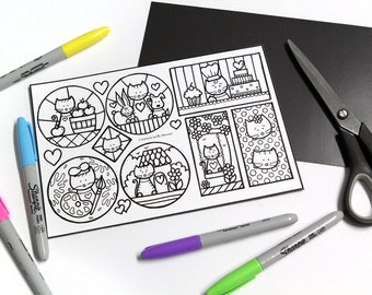 Loving cats coloring and cutting for boy or girl, child