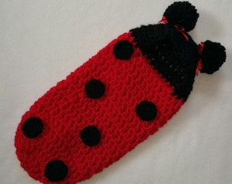 Crochet Pattern, Newborn Hooded Cocoon, Pod, Lady Bug, Instant Download