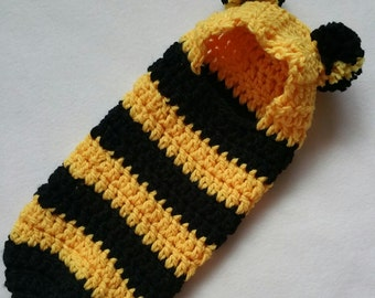 Crochet Pattern, Newborn Hooded Cocoon, Pod, Bumble Bee, Instant Download, Newborn Halloween Costume
