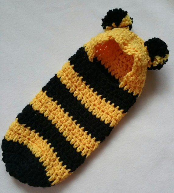Free Crochet Pattern Hooded Cocoon : Crochet Pattern Newborn Hooded Cocoon Pod Bumble Bee