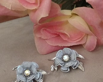 Pastel Blue Flower Earrings, Aurora Borealis Accent, Clip On FREE SHIPPING