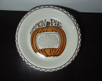 Vintage Pumpkin Pie Ceramic Recipe Pie Dish/Plate/Pan
