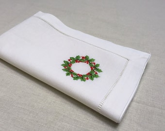 22 Inch White Ivory Embroidered Hollyberrry Christmas Hemstitch Linen Cloth Napkin Set of 12