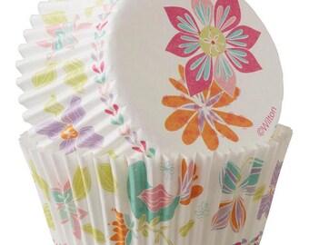 Artistic Spring Flowers Standard Cupcake Liners Baking Cups Muffin Cups - Wilton Cupcake Liners - Spring Cupcake Liners - Floral Baking Cups