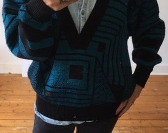 Oversized vintage sweater with a deep v neck