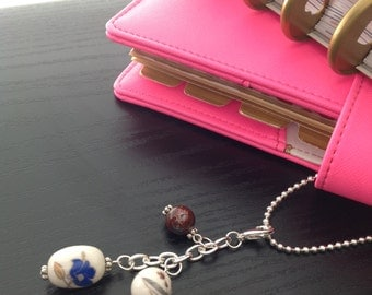 Planner charm floral ceramic beads with ball chain extender
