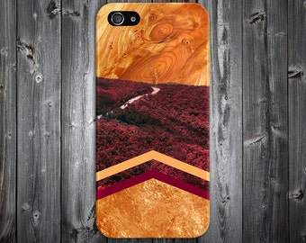 Burgundy Fall Chevron Forest Wood Case, iPhone X, iPhone 7 Plus, Protective iPhone Case, Galaxy s8, Samsung Galaxy Case, Note 8, CASE ESCAPE