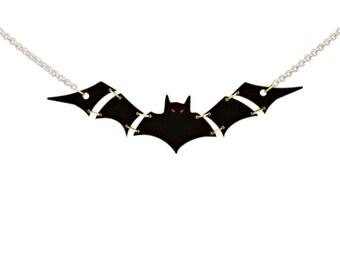 Black vampire Bat Statement Necklace