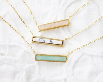 Gold Framed Marble Pendant Necklace Bridesmaid Gift Bridesmaid Necklace Simple and Modern Everyday Necklace Necklace Wedding Jewelry