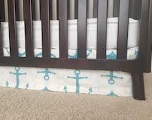 Anchor Crib Skirts, Nautical baby bedding, Nautical crib skirts, crib skirt,Baby boy crib skirt, aqua anchor crib skirt