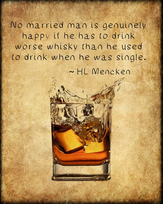 Hl Stock Quote New Whiskey Poster Bar Art Whiskey Print Hl Mencken Quote