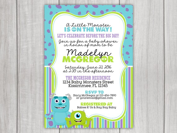 monsters inc inspired baby shower invitation by little rainbow blooms