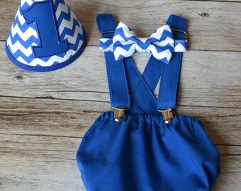 Boy Cake Smash Outfit, Blue and Chevron, Boy Cake Smash, Boy 1st Birthday Set, 1st Birthday, 1st Birthday, Tie and Diaper Cover