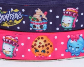 Shopkins 7/8 Grosgrain Ribbon - Purple and Pink