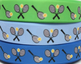 Tennis Racquet Ribbon 7/8 Grosgrain Ribbon by the Yard for Hairbows, Scrapbooking, and More!!