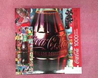 """COKE JIGSAW PUZZLE """"Aquarius"""" is a Vintage 1,000 Piece 12"""" x 36"""" Coca-Cola Jigsaw Puzzle Featuring The Coca-Cola Contour Bottle"""