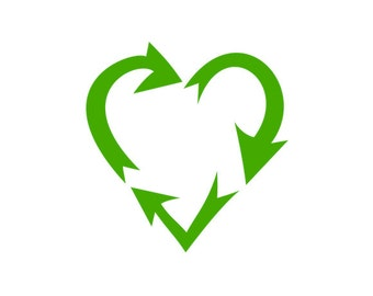 Heart Shaped Recycle Symbol - Car/Truck/Home/Computer/Phone/Trash Can/Laptop Decal