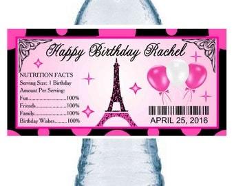 20 ~ EIFFEL TOWER PARIS birthday party water bottle labels ~ glossy ~ waterproof ink